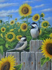 Art, Painting, Chickadees, Sunflowers, Yellow, Flowers, Landscape, Birds, Bird
