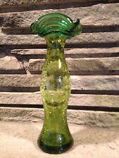 Blenko Glass Olive Green Joel Myers Crackle Threaded 6833 OT Vase