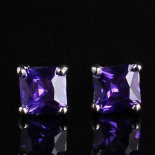 18ct white gold filled purple crystal stud earrings simulated diamond Amethyst