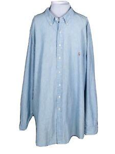 Ralph Lauren Button-Up Shirt Dress/Casual Classic Fit Cotton Chambray Blue 3XLT