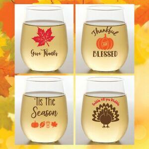 Set of 4 Wine-Oh! 16 oz Shatterproof Plastic Stemless Wine Glasses THANKSGIVING
