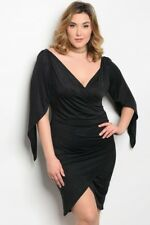 Women's Plus Size Black Batwing Bodycon Wrap Style Dress 2XL NEW