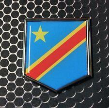 "DR Congo Flag Domed CHROME Emblem Proud Flag Car 3D Sticker 2""x 2.25"" Kinshasa"
