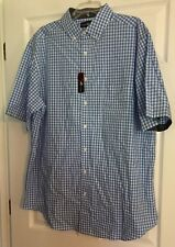 Beverly Hills Polo Club mens 2XLB short sleeve button front shirt Blue Check NWT