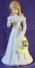 Vintage 1982 Enesco Growing Up Birthday Girls Brunette Porcelain Figurine age 12