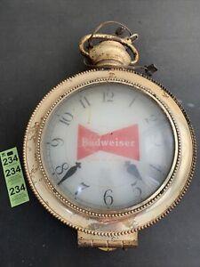 Vintage Budweiser King Of Beers Pocket Watch Clock Bar Advertising Sign
