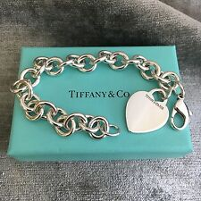 Tiffany Co Sterling Silver Blank Heart Tag Bracelet With Box