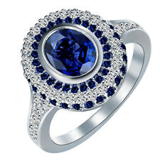 Women Blue Sapphire White Gold Filled Engagement Ring Jewelry Size 8 Rings Gift
