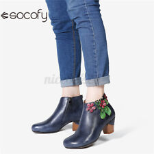 SOCOFY Womens Leather Ankle Boots Ladies High Heels Block Zipper Casual Shoes