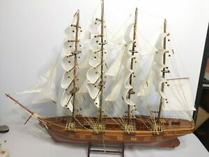 "Rare Vintage Wooden Model 4 Masted Sailing Ship ""Wenour"""