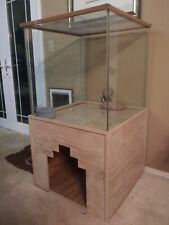 Reptile Terrarium Large Glass Snake Spider Tarantula Tank w/ Wood Stand + extras