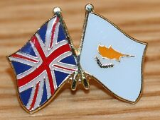 UK & CYPRUS FRIENDSHIP Flag Metal Lapel Pin Badge Great Britain