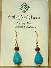 Vermeil PERUVIAN BLUE OPAL & GARNET Dangle Earrings...Handmade USA