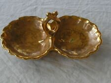 STANGL POTTERY VINTAGE 22KT GRANADA GOLD TWIN CANDY DISH HANDLED