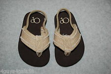 Toddler Boys BROWN w/ TAN CANVAS STRAP Soft Underside ANKLE STRAP Size S 5-6