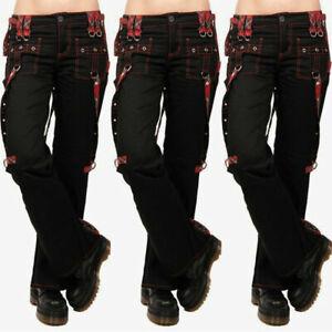 UK Womens Punk Gothic Trouser Wide Leg Hippie Casual Combat Pants Cargo Trousers