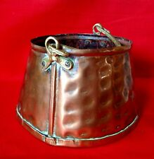 Arts & Crafts Era, Hammered Copper Plant Pot Holder With Hammered Brass Handle