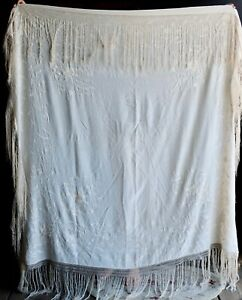 Vintage Antique Ivory Cream Embroidered Silk Piano Shawl