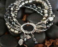 Silpada Hailstone Bracelet .925 Silver Hematite Glass Bead Multi Strand B1935