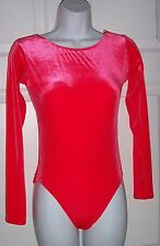 Women's Medium Dancewear Top Velvet Pretty Apricot Orange Long Sleeves  New