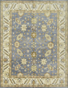 Oushak Rug, 9'x12', Blue/Ivory, Hand-Knotted Wool Pile