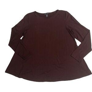 Eileen Fisher Womens Sz M Brown A-Line Tencel Lyocell L/S Hip Length Tunic Shirt