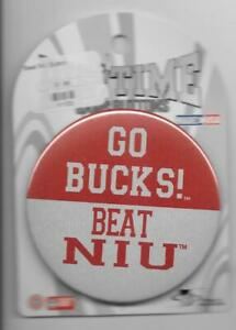 GO BUCKS! BEAT NORTHERN ILLINOIS UNIVERSITY new on card Ohio State pinback pin