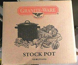 GRANITEWARE Black & White Speckled STOCK POT w/ Lid 12 Qt. USA NIB Never used