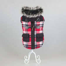 Small Medium Warm Dog Clothes Coat Winter Thick Plaid Cotton Jacket Fur Collar