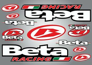 BETA RACING PRINTED STICKERS DECALS GRAPHIC ADHESIVE FORKS BIKE RED