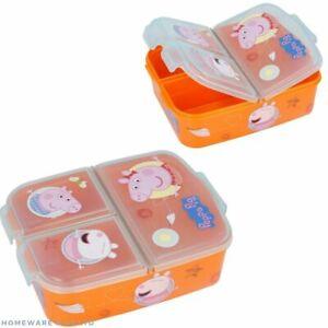 CHILDRENS PEPPA PIG PLASTIC 3 COMPARTMENT LUNCH BOX SNACK TUB SCHOOL TRAVEL
