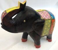 "Vintage 9"" Hand Painted Indonesia Carved Wood Floral Daisy Elephant Figure"