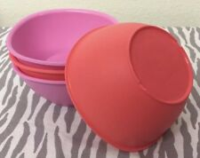Tupperware Legacy Pinch Cereal Bowls Set Of Four 13oz Coral and Pink New
