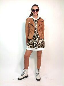 vestito abito da donna felpa maglione lungo maculato con cappuccio maxi pull tuo