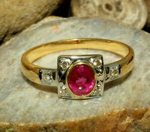 Natural Ruby Oval Cut Gemstone Gold Plated 925 Solid Silver Women Bridal Ring
