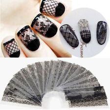 20Pcs/Set Charm Black Lace Flower Nails Transfer Foil Nail Art Stickers Decals