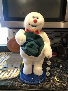 Gemmy Animated Spinning Snowflake Frosty The Snowman Rare With Box 100% Working
