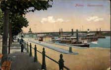 Rhein Schiff Schiffe Partie in MAINZ Hafen Anlegestelle 1913 Dt. Reich frankiert