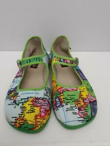 Hot Chocolate Design Green Multi Color World Map Mary Jane Shoes Size 37