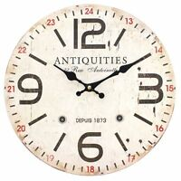 Rustic Shabby Chic French Wooden Wall Clock 34cm Vintage Antiquities Design
