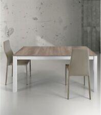 Tavolo allungabile in legno e metallo bianco