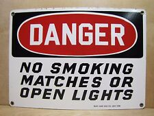 Old Porcelain Danger No Smoking Matches Open Lights Sign Ready Made Co Ny