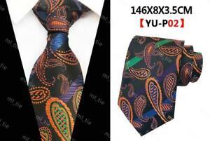 Black Orange Blue Tie Paisley Pattern Handmade 100% Silk Necktie 8cm Width