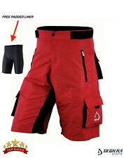 MTB Shorts Off Road Baggy Style Padded Liner Mens Bicycling Half Pants Red S-XXL