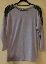 Jingpin Knit Top Large Gray Pullover Leopard Print Long Sleeve Crew Neck Casual