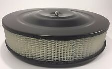 """14"""" X 3"""" Round Black Air Cleaner Assembly Flat Base Chevy SBC 350 BBC 454 Paper"""