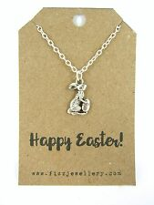 Happy Easter Bunny and Egg Silver Plated Necklace Message Card Quote Gift