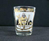 Santa Claus House North Pole Alaska Shot Glass Gold Black Frosted Christmas Snow