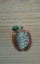 Apple Brooch pin Orange Silver tones