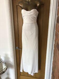 Adrianna Papell Next White Strapless Maxi Long Dress Size 12 Bridesmaid Wedding